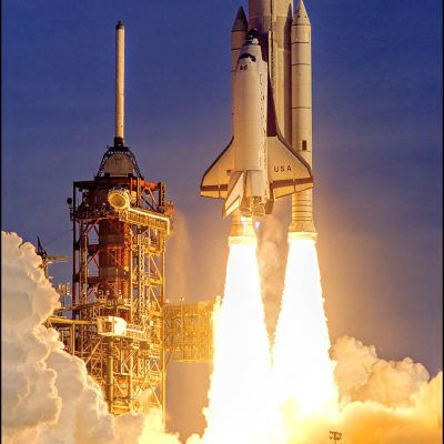 Launch of Columbia, America's first Space Shuttle at NASA's Kennedy Space Center, FL on April 12, 1981.  John Young was the Commander and Robert Crippen was the Pilot for this crew's two day mission.  NASA Mission STS-1.