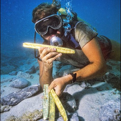 One of Mel Fisher's Treasure divers holds gold bars found on this shipwreck site from the Spanish galleon Nuestra Señora de Atocha.