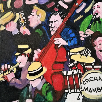 Cachao Playing the Bass 16 x 12